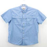 LL Bean Men's Tropicwear Shirt Vented Fishing Hiking Blue Long Sleeve Size XL
