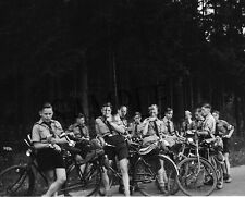 "Uniformed German Boys, Youth on Bicycle Ride 8""x 10"" World War II Photo 3p"