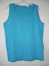 Chico's True Color Tees 98% Cotton Blue Scoop Neck Sleeveless Top Size 1