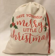 Cream & Red Canvas Christmas Santa Gift Sack Bag Medium NEW