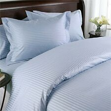 1500 Thread Count 100% Egyptian Cotton 1500 TC Bed Sheet Set KING Blue Stripe