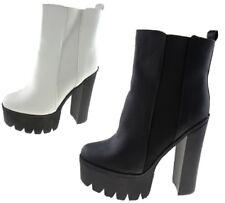 Ladies High Street BLOCK HEEL Chunky Platform Retro Chelsea Ankle Boots UK 4 - 8