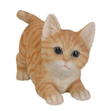 "Orange Tabby Kitten Cat Stretching - Collectible Statue Life Size 7""L New"