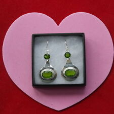 Handmade Peridot Hook Oval Fine Gemstone Earrings