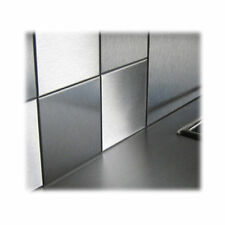 10 x Single Stainless Steel Square Bathroom/Kitchen Tiles - 100mm x 100mm