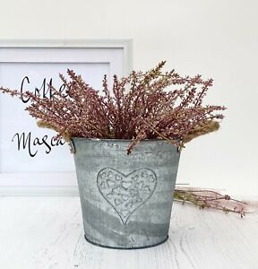 Vintage Style Zinc Metal Bucket Planter Rope Handles Garden Flower Plant Pot