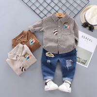 Infant Kids Boys Outfit Clothes Casual Clothing Toddler Boy Plaids Shirt Jeans