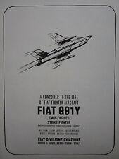 6/1965 PUB FIAT AVIAZIONE FIAT G.91 Y ITALIAN AIR FORCE ORIGINAL AD