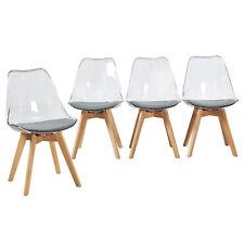 Pack de 4 Transparente Silla de Comedor Silla escandinava, Pata Madera de Haya y