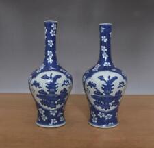 Pair Antique Chinese Blue & White Porcelain Vases w/Plum blossom