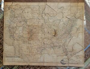 ANTIQUE 1800's UNITED STATES MAP  PUZZLE on Wood w/ INDIAN TERRITORY America USA