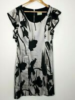 Review Silver Black Midi Abstract Office Career Dress Size 14