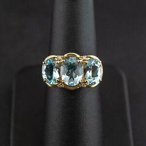 (PA2) 9ct Yellow Gold Aquamarine & Diamond Trilogy Ring M