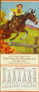 Horse, Woman Jumping Fence 1942 Advertising Calendar/8x19 Poster: Up And Over