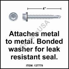 (500) 12 x 4 Self Drilling TEK Hex  Head Neo Washer Roof Screw #137779