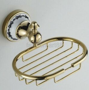 Gold Color Brass Ceramic Base Wall Mounted Bathroom Soap Dish Holder fba253