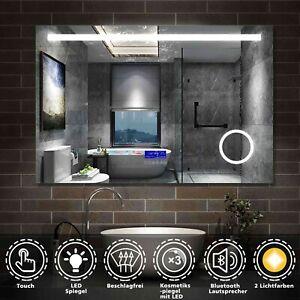 BAD SPIEGEL mit LED Beleuchtung Touch Beschlagfrei Uhr Bluetooth Schminkspiegel