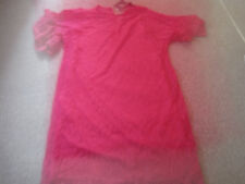 SHORT DRESS LONG TOP SIZE 10 UNDER GARMENT WITH NET DRESS OVER PINK ROUND NECK