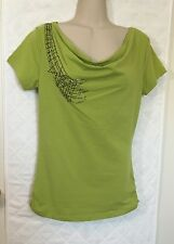 Adam Jacobs Lime Green stretch T-Shirt Women's XXS Pewter sequins cowl neck NWT