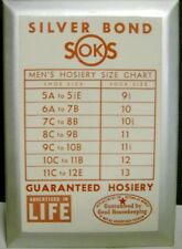 1950's Silver Bond Soks TOC Sign - Shoe & Sock Chart