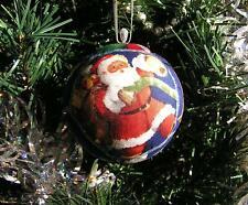 Six Santa Claus Bespoke Handmade Patchwork Christmas Baubles Ornaments