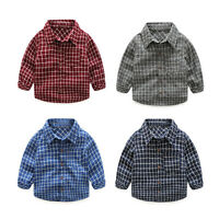 Baby Boy Kid Long Sleeve Plaid Check Shirt Blouse Tops Casual Party Xmas Clothes