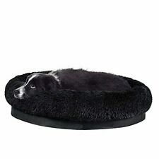 Donut Dog Bed, Self-Warming Faux Fur Calming Pet Bed X-Large (Pack of 1) Black