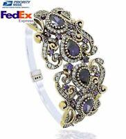 Turkish Handmade 925 Sterling Silver Fine Authentic Amethyst Ladies Bracelet