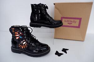 Lelli Kelly Girls Black Leather Boots, Uk 2 Eu34, VGC