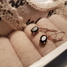 Boi Ploi Black Spinel Leverback Earrings in rose gold over Sterling silver