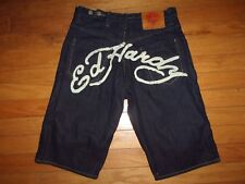 ED HARDY EMBROIDERED MEN'S DENIM BUTTON FLY SHORTS SIZE 36 NICE