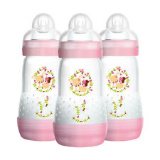 MAM Newborn Baby Girl Anti-Colic Self Sterilising Bottle Set Pink - 3 Pack