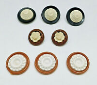 Lot of 8 Vintage 40s-50s Buttons Plastic Stacked Domed Flower Brown White Black