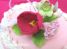 Gum Paste Sugar Red Tulip, Pink Carnation Leaves, Ribbon Cake Decorating Flowers