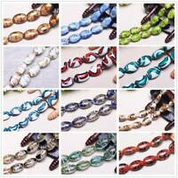 Wholesale 5pcs 24x18mm Oval Lampwork Glass Loose Spacer Beads Jewelry Findings
