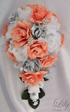 17 Piece Package Silk Flower Wedding Bridal Bouquet Cascade CORAL SILVER WHITE