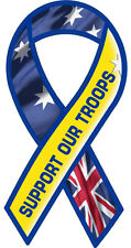 SUPPORT OUR TROOPS RIBBON AUSTRALIA VINYL DECAL  Size apr. 100mm by50mm