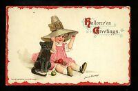 Halloween Postcard Sam Gabriel Artist Brundage 121-4 1of2 child black cat witch