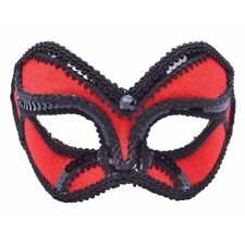 Rojo y Negro Terciopelo Baile de Máscaras Mask On Gafas Veneciano Disfraces