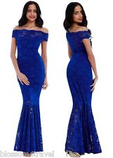 Goddiva Blue Lace Bardot Maxi Evening Fishtail Formal Party Dress Prom Ball