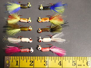 25 - 1/16 oz Fuzz E Grub Fishing Crappie Lures - Panfish Jig Heads! Red Hook MX2