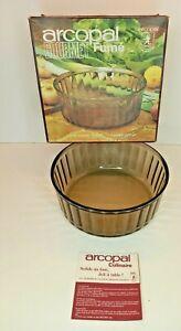 Vintage Arcopal French Pyrex Smoked Brown Glass Soufflé Dish LARGE 21cm diam