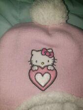 Girls Hello Kitty Knit Cap Beanie Pink Children's Hat Kid's Puff Ball Plush