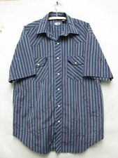 W4424 Large Men's Falcon Bay Blue Striped Short Sleeve Button Down Shirt
