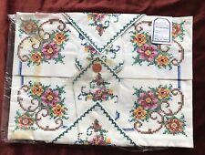 Vintage Hand Embroidered Tablecloth & Napkins NOS Unused Cream Blue PInk Rose
