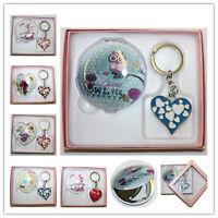 Heart Shaped Keyring Mirror Gift Set for Girlfriend Mother Teacher Valentines