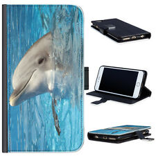 (Bg0290) Dolphin With Head Out Of Water PU Leather Wallet Phone Case Phone Cover