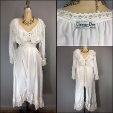 Vtg 80s Victorian Style Christian Dior White Bridal Wedding Robe Floral Lace M