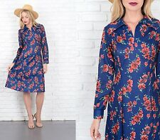 Vintage 70s Navy Blue Dress Mod Red Floral Print A Line Small S