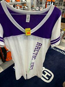 New Arctic Cat Women's V-Neck T-Shirt ~White/Purple/Green~ L~ # 5228-304